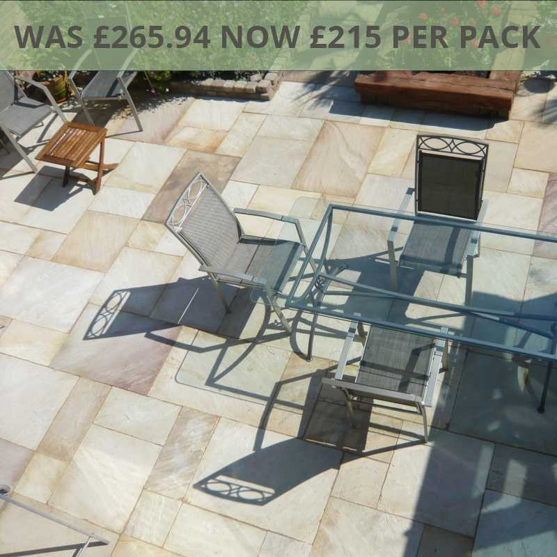Fossil Cream Sandstone Paving Patio Pack