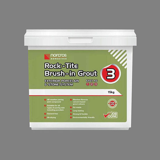 Norcros Rock-Tite Brush In Grout Grey 15 Kg