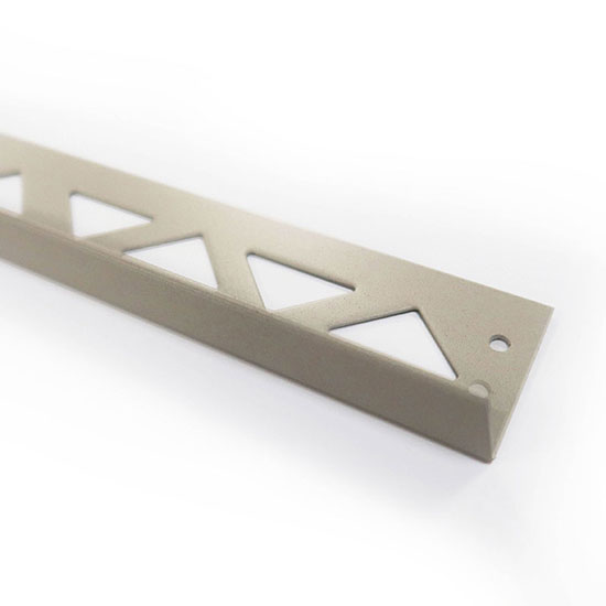 PorcelQuick Straight Edge Stainless Steel Profile Beige Powder Coated