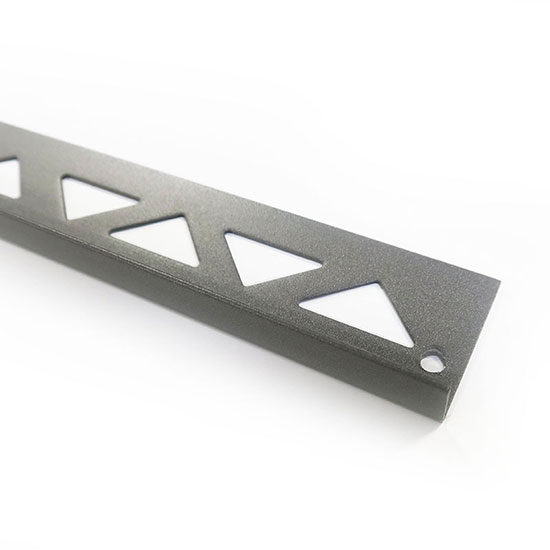 PorcelQuick Straight Edge Stainless Steel Profile Dark Grey Powder Coated