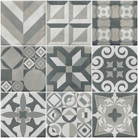 Valverdi Heracles Mix Outdoor Patterned Porcelain Paving - 200 x 200mm